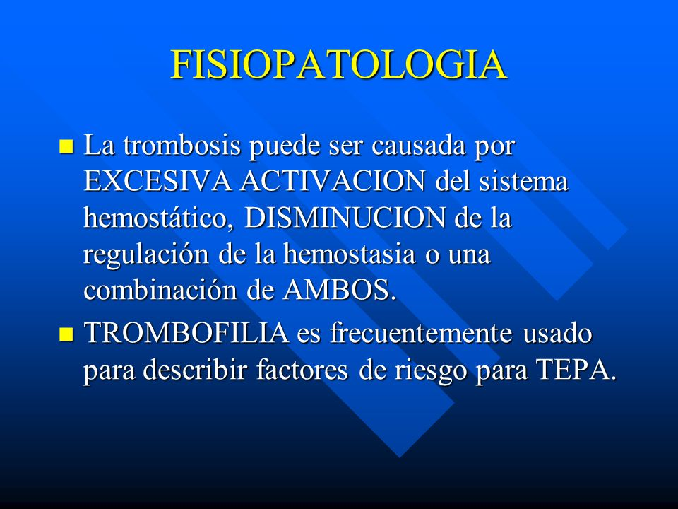fisiopatologia de la trombosis venosa