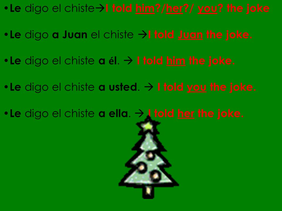 Le digo el chisteI told him /her / you the joke