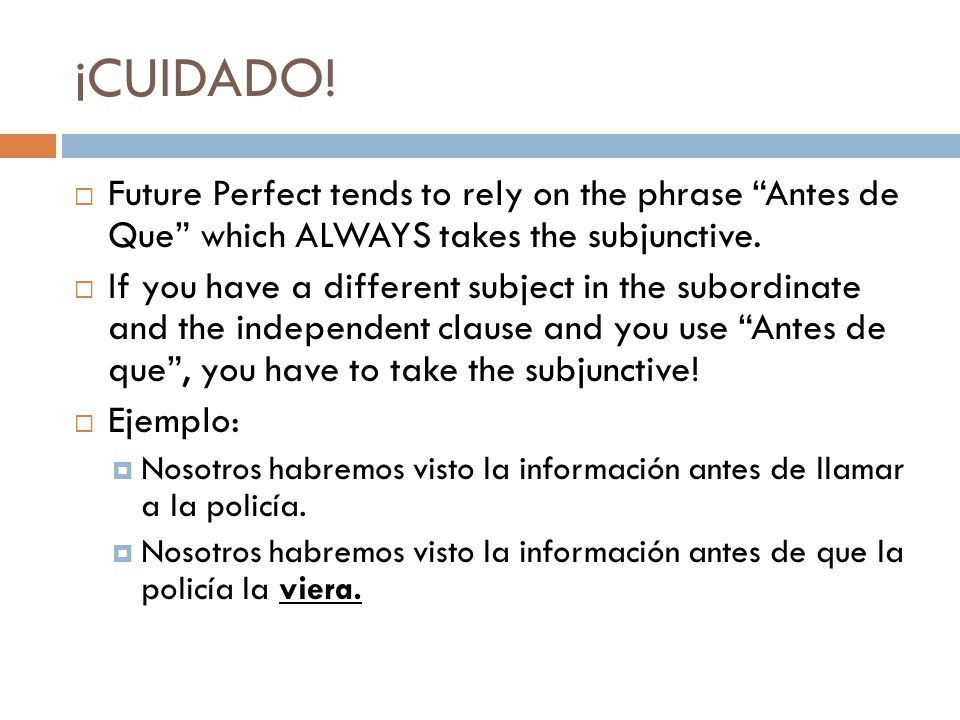 ¡CUIDADO! Future Perfect tends to rely on the phrase Antes de Que which ALWAYS takes the subjunctive.