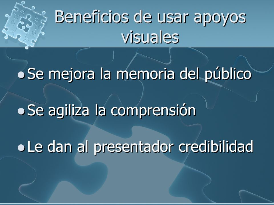Beneficios de usar apoyos visuales