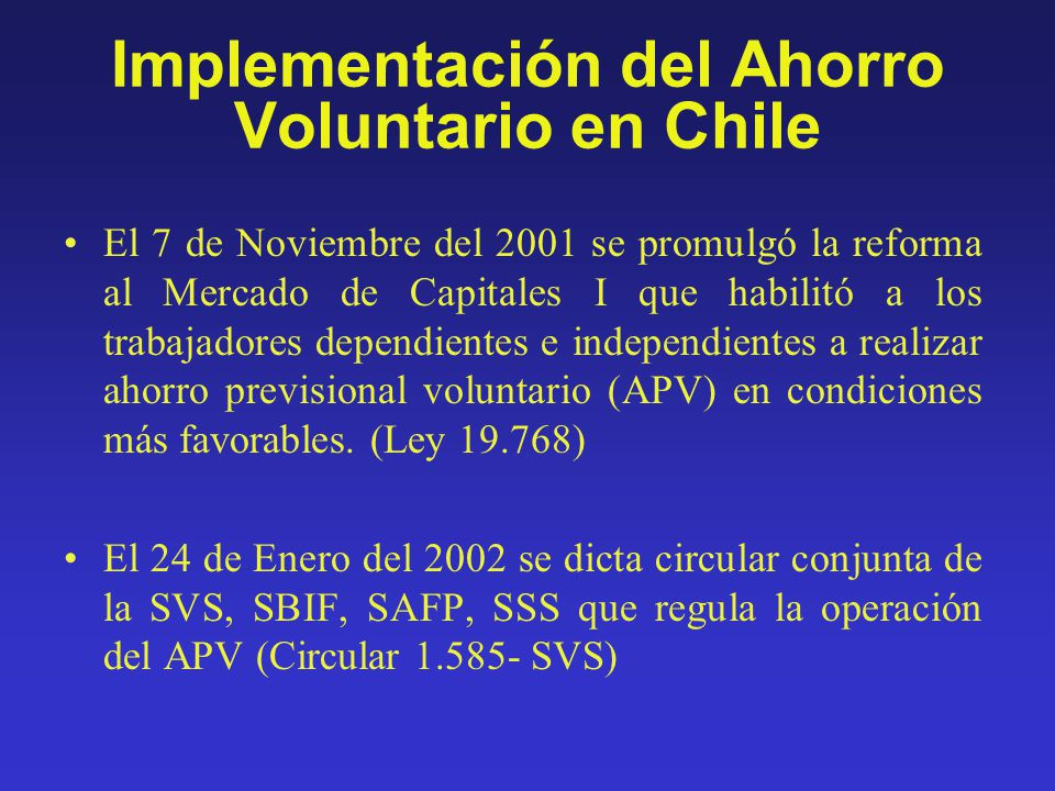 Implementación del Ahorro Voluntario en Chile
