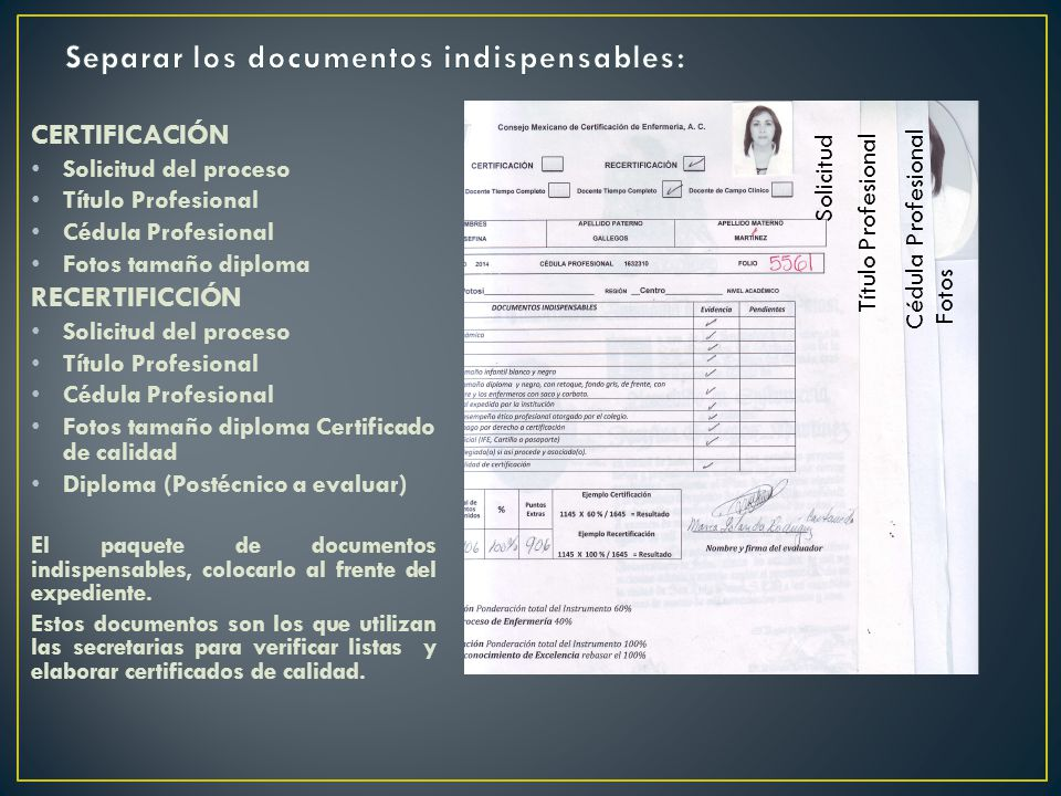 Separar los documentos indispensables: