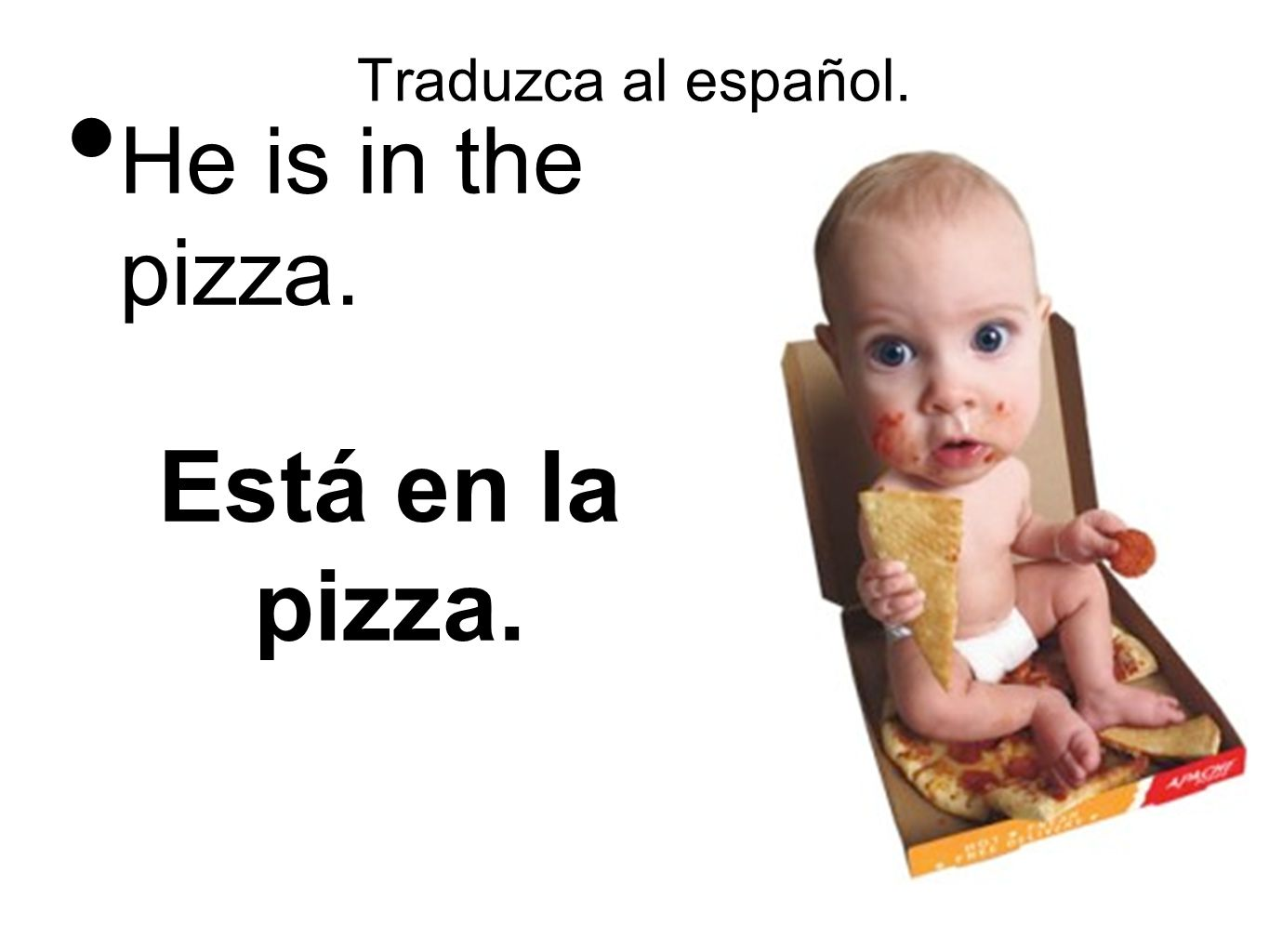 Traduzca al español. He is in the pizza. Está en la pizza.