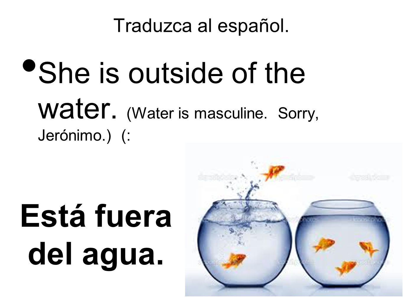 Traduzca al español. She is outside of the water.