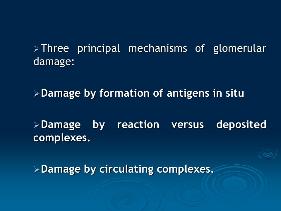 Three principal mechanisms of glomerular damage: