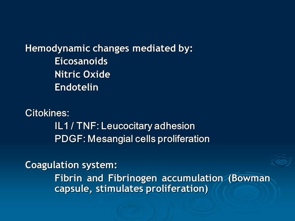 Hemodynamic changes mediated by: