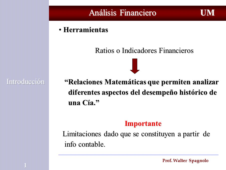 Ratios o Indicadores Financieros