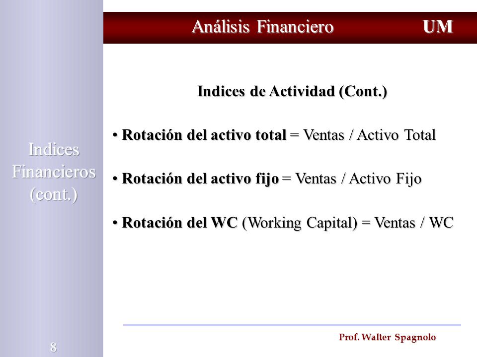 Indices Financieros (cont.)
