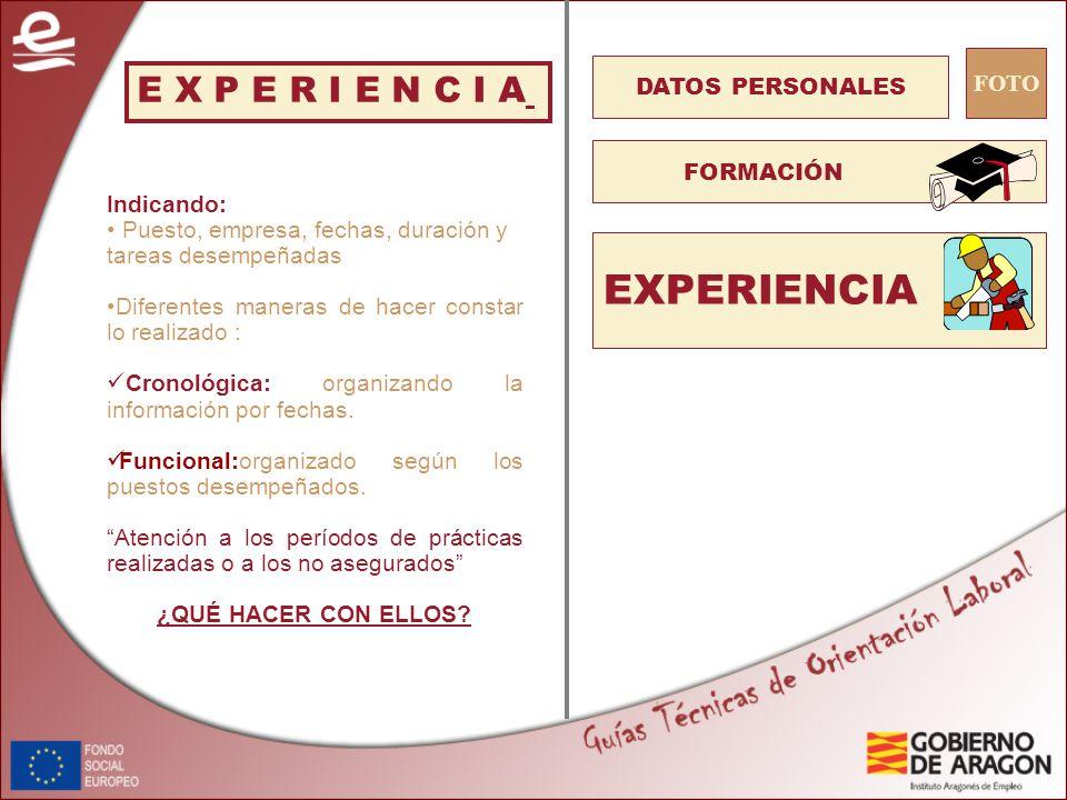 4 experiencia e x p e r i e n c i a