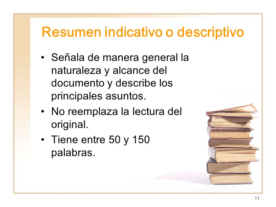 Resumen indicativo o descriptivo