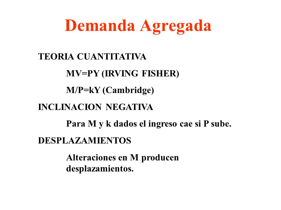Demanda Agregada TEORIA CUANTITATIVA MV=PY (IRVING FISHER)
