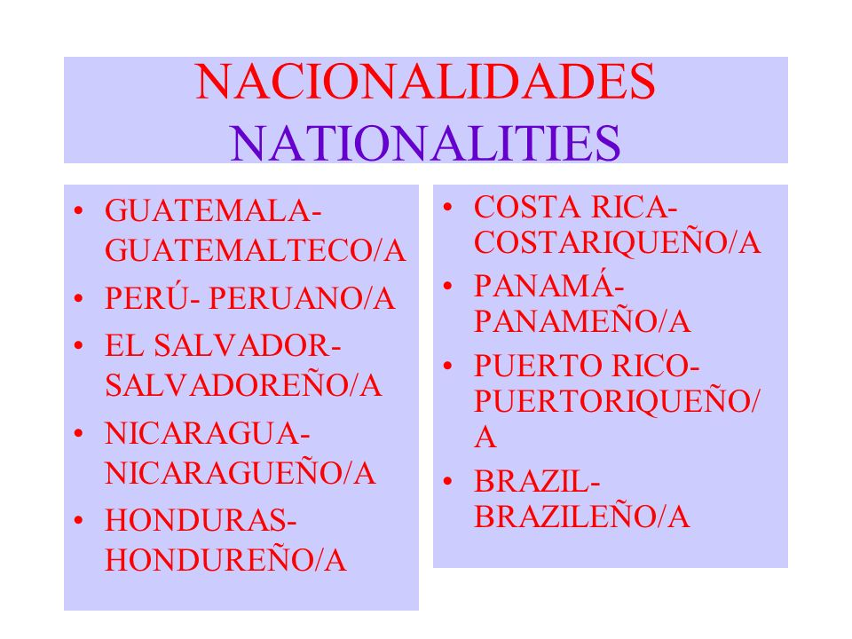 NACIONALIDADES NATIONALITIES