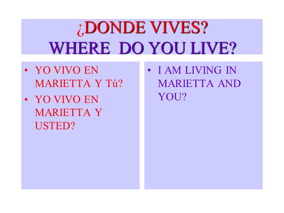 ¿DONDE VIVES WHERE DO YOU LIVE
