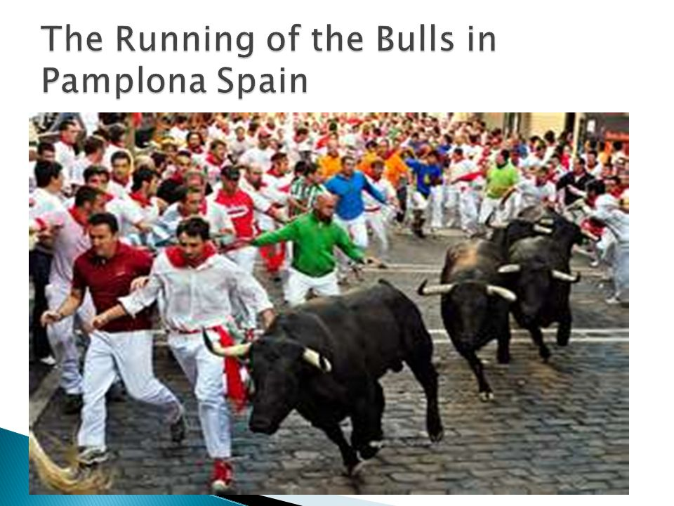 The Running of the Bulls in Pamplona Spain