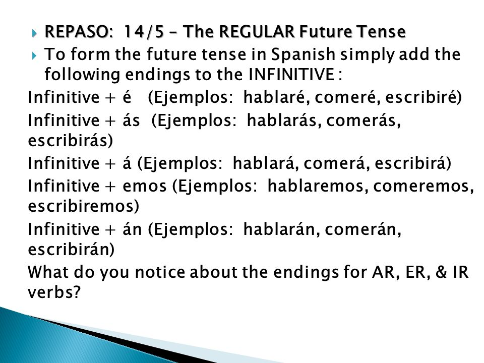 REPASO: 14/5 – The REGULAR Future Tense