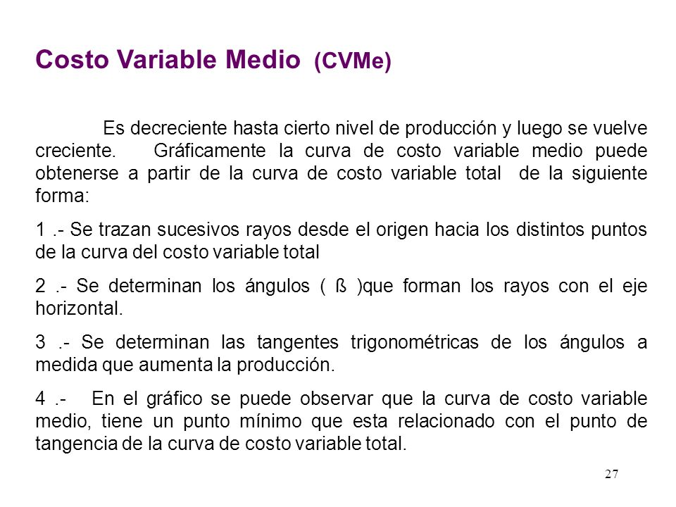 Costo Variable Medio (CVMe)