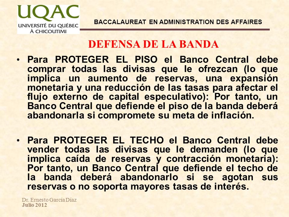 DEFENSA DE LA BANDA