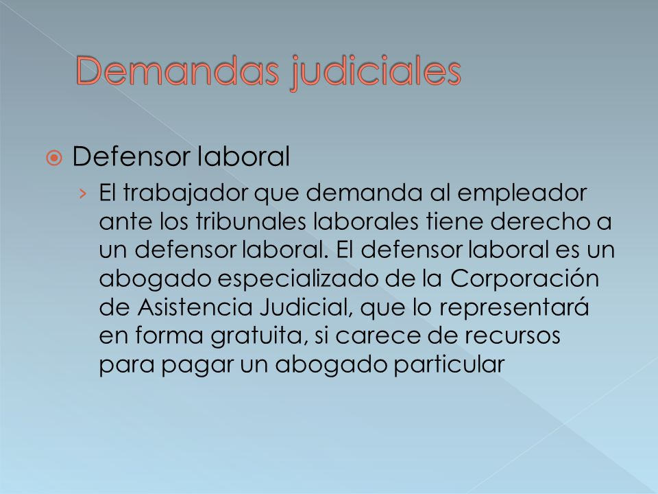 Demandas judiciales Defensor laboral