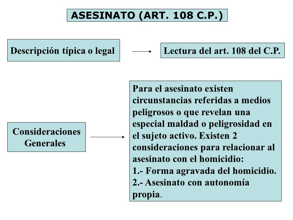 ASESINATO (ART. 108 C.P.) Descripción típica o legal. Lectura del art. 108 del C.P.