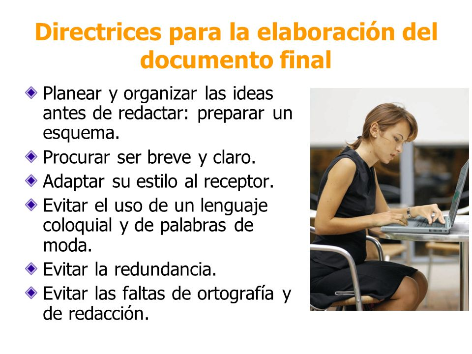 Directrices para la elaboración del documento final