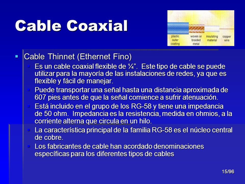 Cable Coaxial Cable Thinnet (Ethernet Fino)
