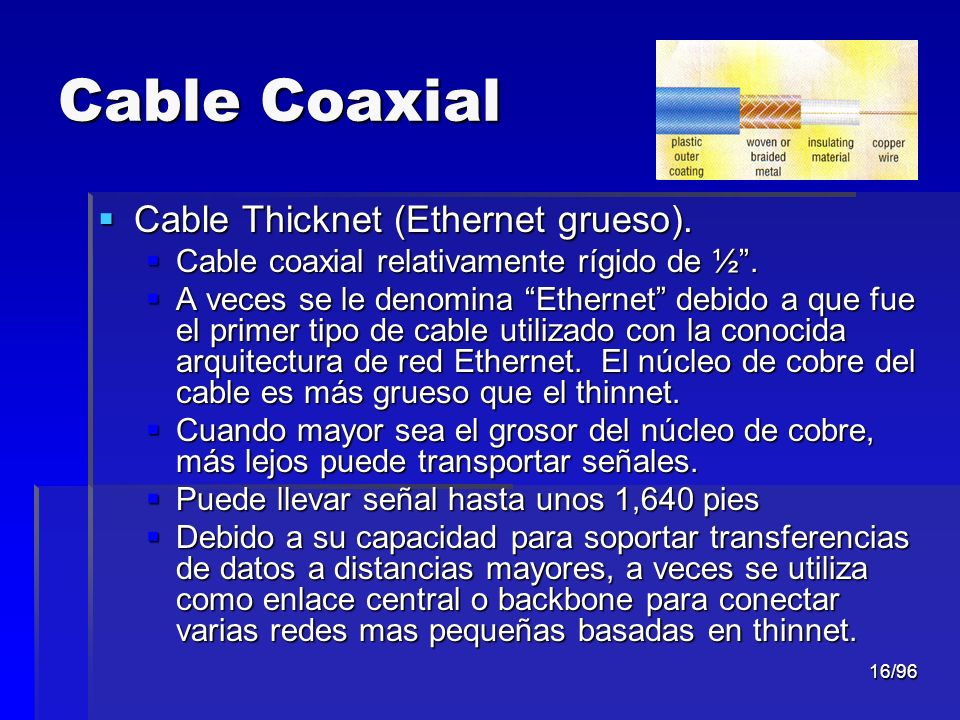 Cable Coaxial Cable Thicknet (Ethernet grueso).
