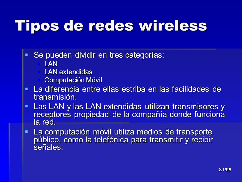 Tipos de redes wireless