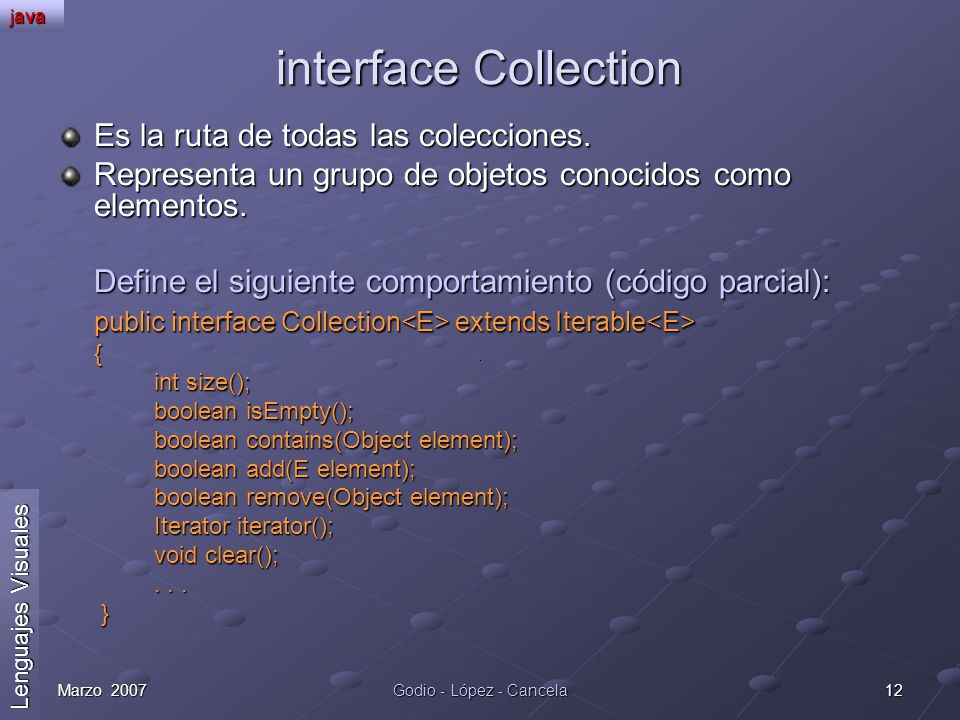 interface Collection Es la ruta de todas las colecciones.