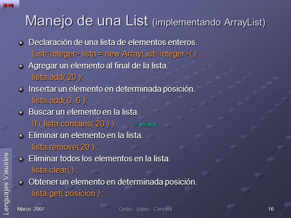 Manejo de una List (implementando ArrayList)