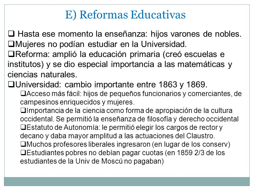 E) Reformas Educativas