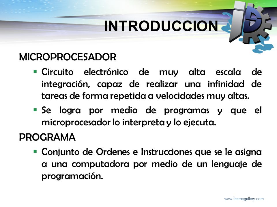 INTRODUCCION MICROPROCESADOR PROGRAMA