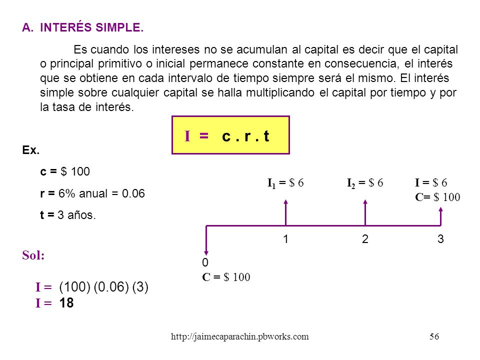 I = c . r . t Sol: I = (100) (0.06) (3) I = 18 INTERÉS SIMPLE.