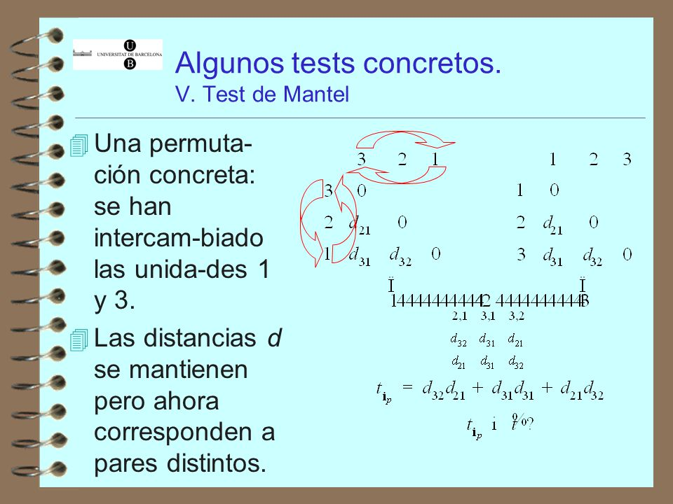 Algunos tests concretos. V. Test de Mantel