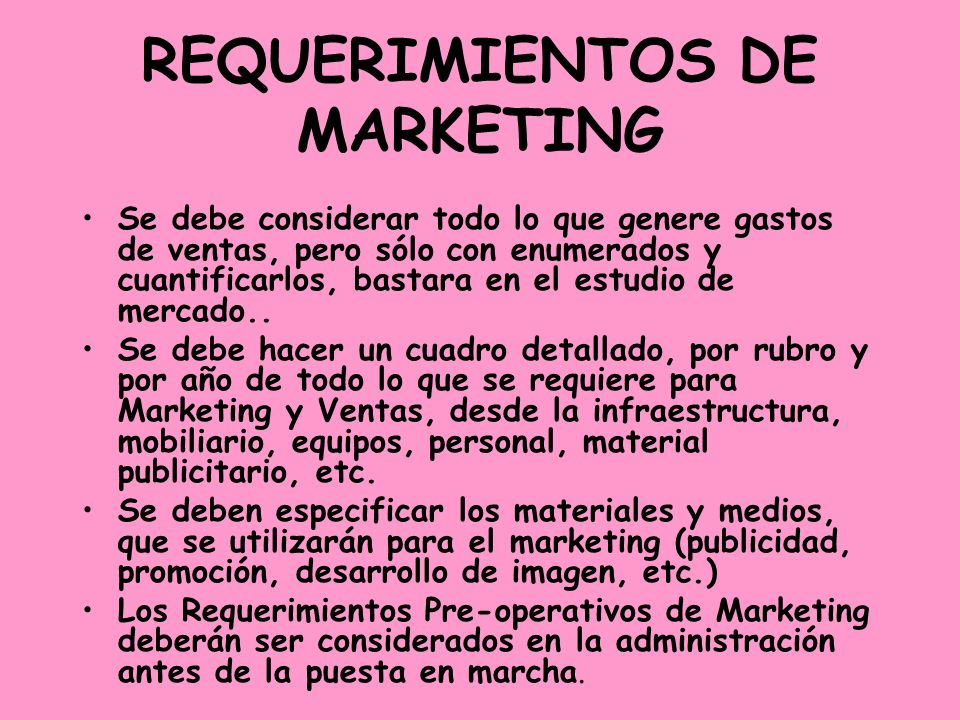 REQUERIMIENTOS DE MARKETING