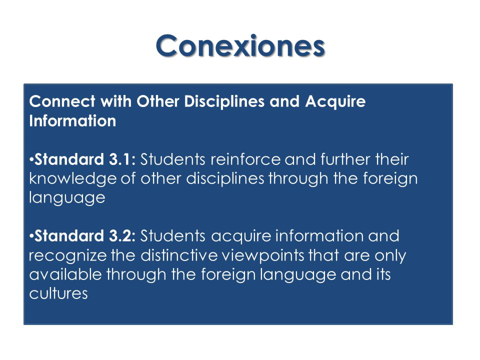 Conexiones Connect with Other Disciplines and Acquire Information