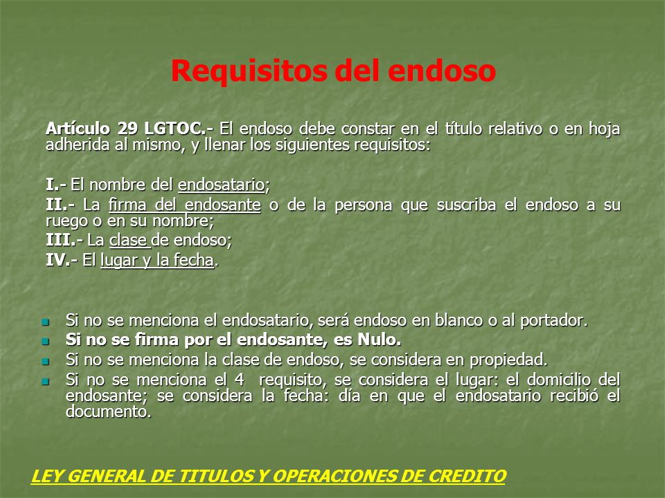 Requisitos del endoso