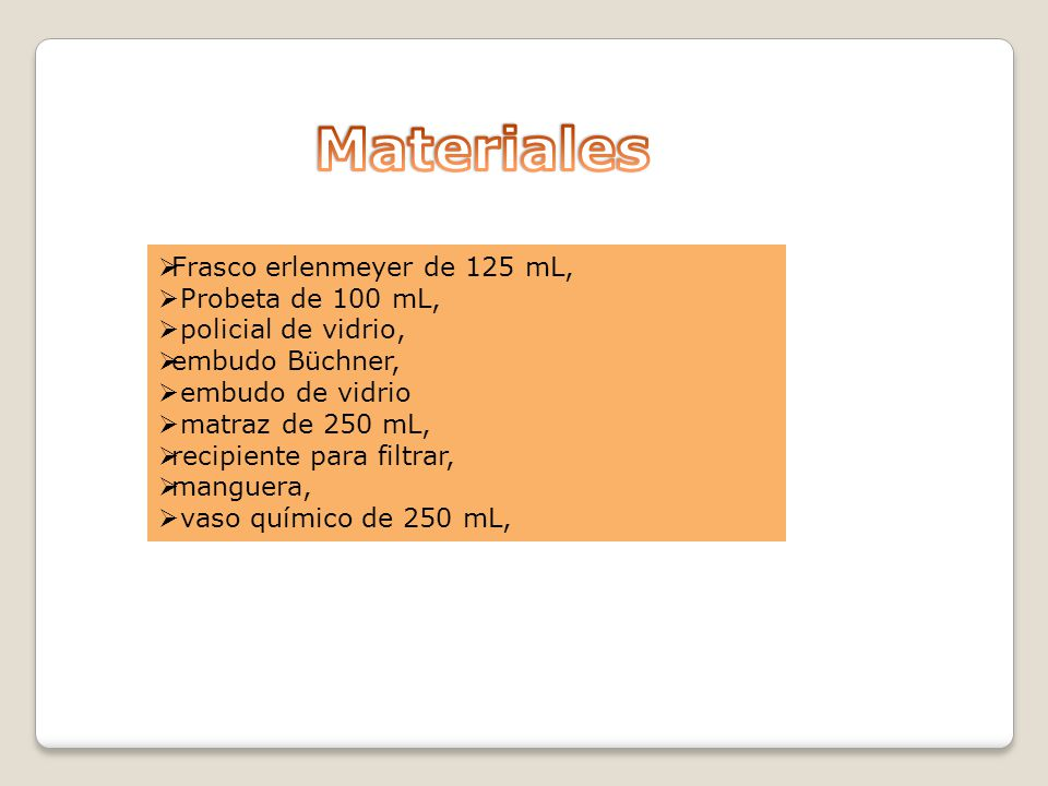 Materiales Frasco erlenmeyer de 125 mL, Probeta de 100 mL,