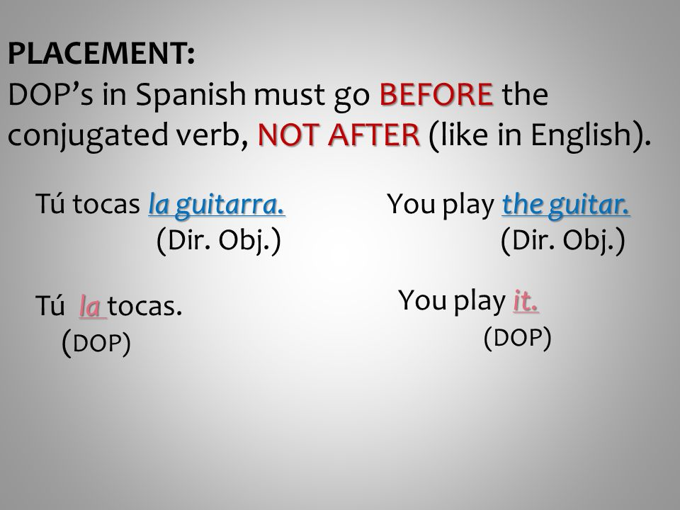 PLACEMENT: DOP's in Spanish must go BEFORE the conjugated verb, NOT AFTER (like in English). Tú tocas la guitarra.