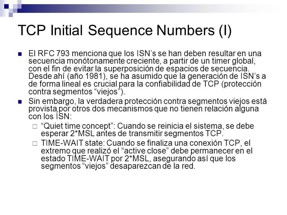 TCP Initial Sequence Numbers (I)