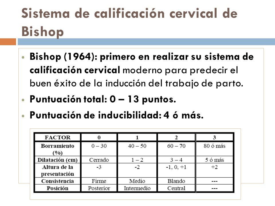 Sistema de calificación cervical de Bishop