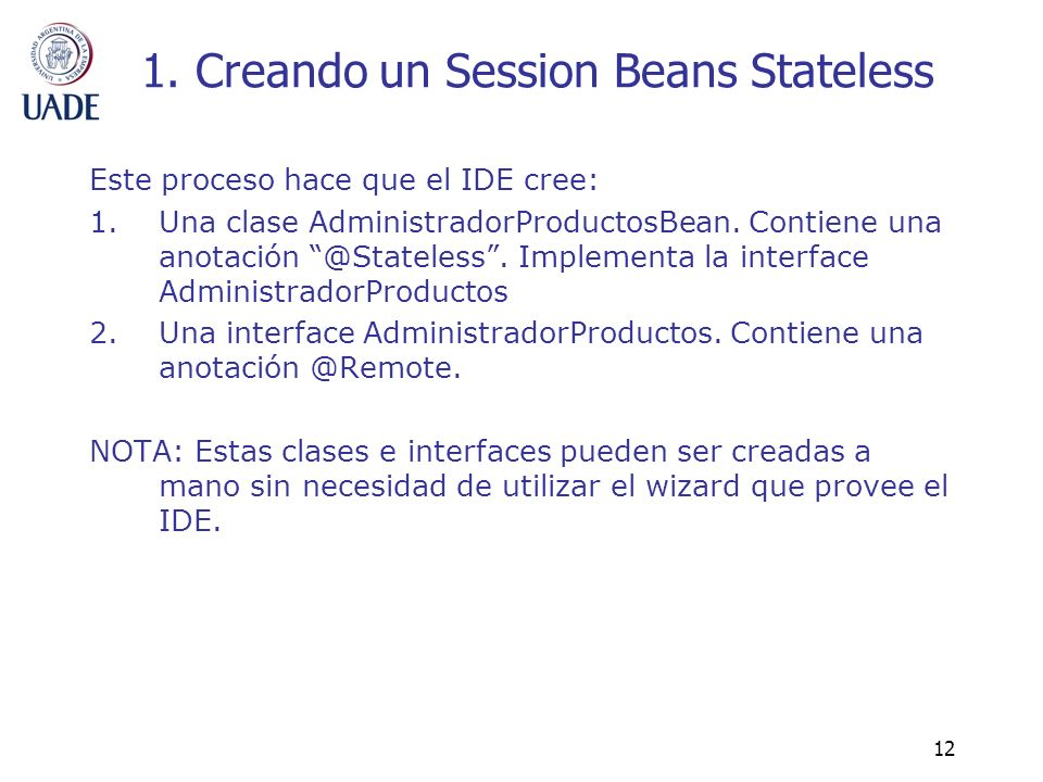 1. Creando un Session Beans Stateless