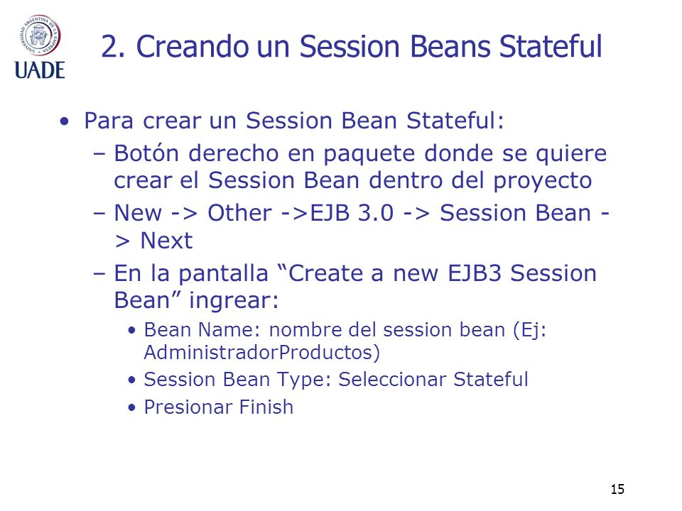 2. Creando un Session Beans Stateful