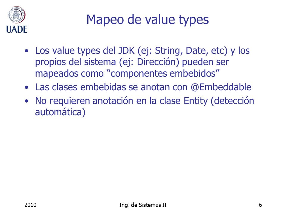 Mapeo de value types