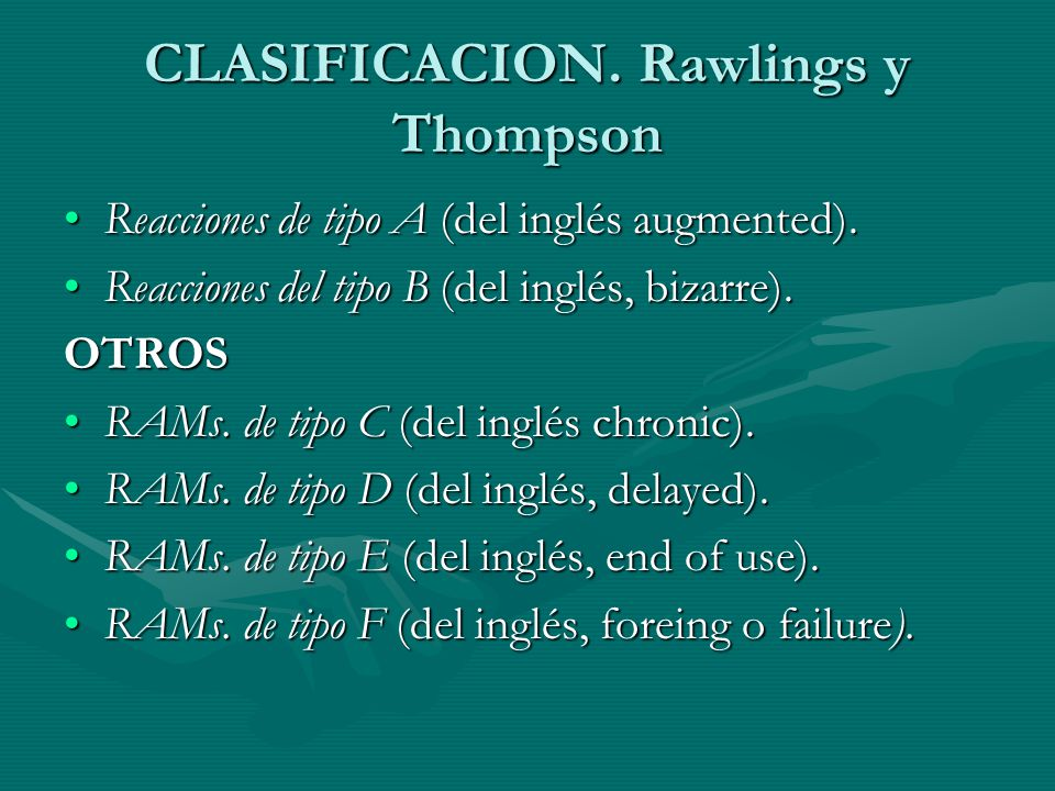 CLASIFICACION. Rawlings y Thompson