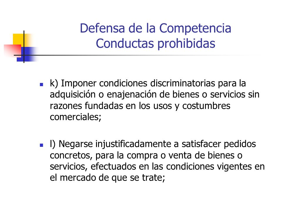 Defensa de la Competencia Conductas prohibidas