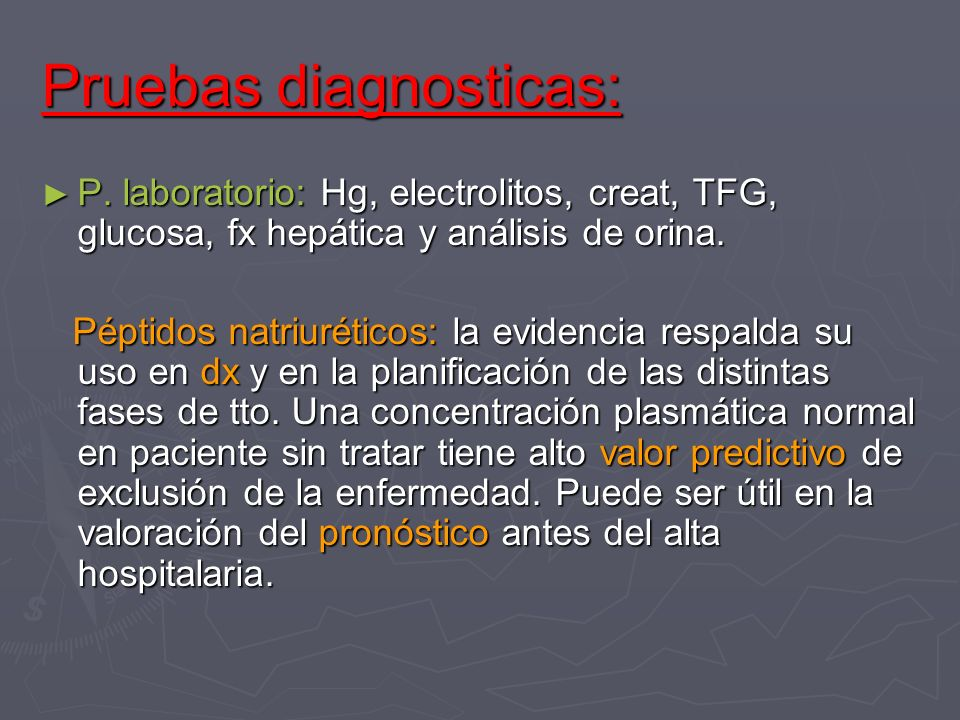 Pruebas diagnosticas: