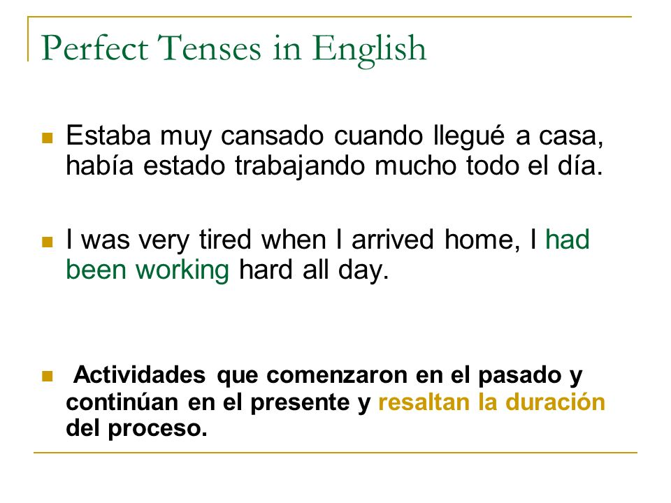 Perfect Tenses in English