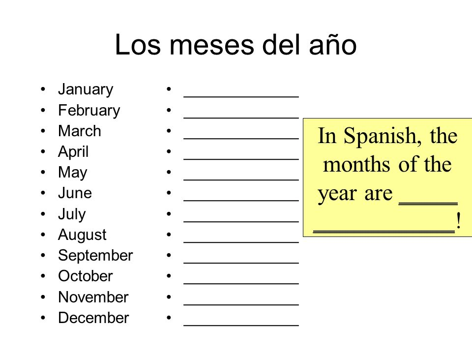 In Spanish, the months of the year are _____ ____________!