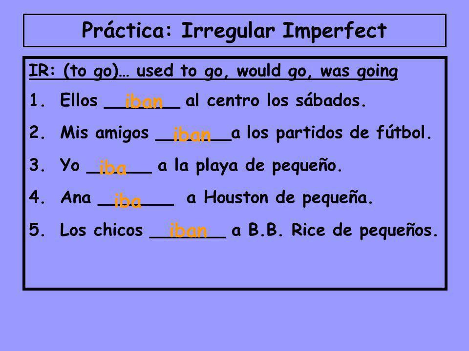 Práctica: Irregular Imperfect