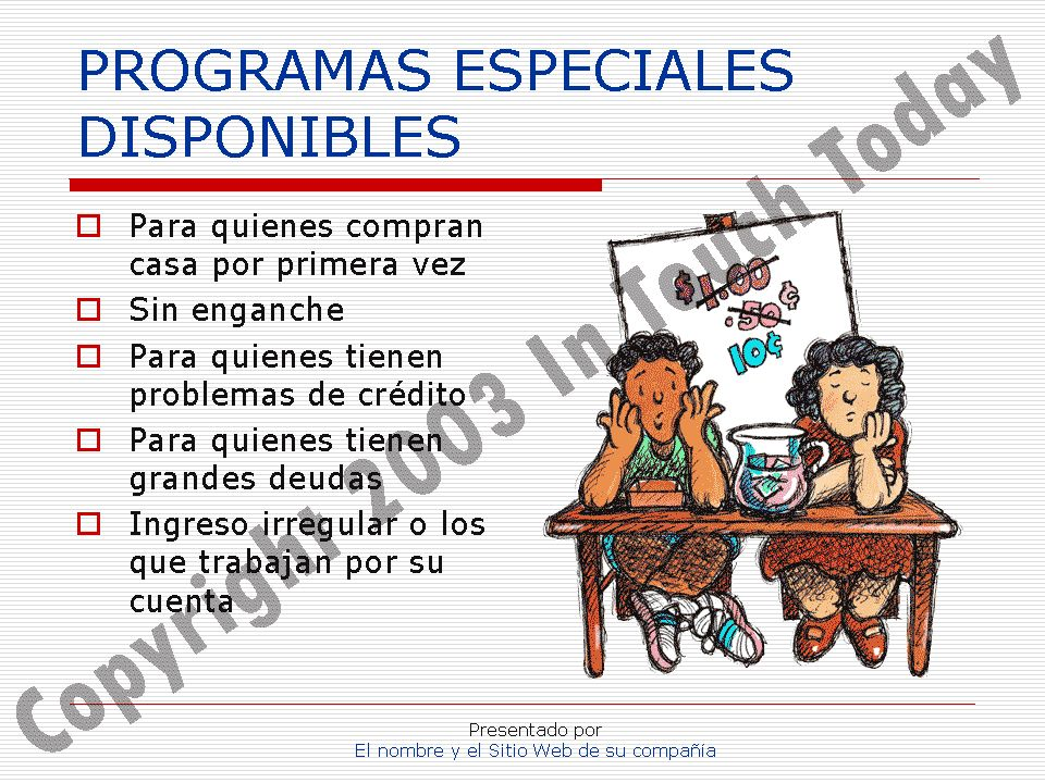 PROGRAMAS ESPECIALES DISPONIBLES